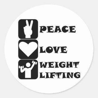 Amor Weightlifing de la paz Pegatinas Redondas