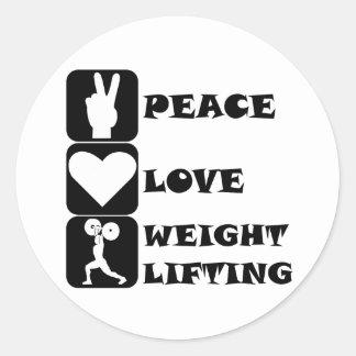 Amor Weightlifing de la paz Etiqueta Redonda