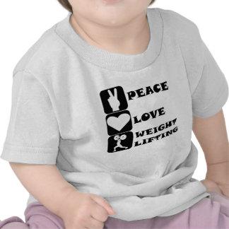 Amor Weightlifing de la paz Camisetas