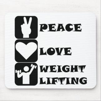 Amor Weightlifing de la paz Tapetes De Ratones
