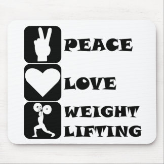 Amor Weightlifing de la paz Tapete De Ratón