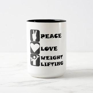 Amor Weightlifing de la paz Taza