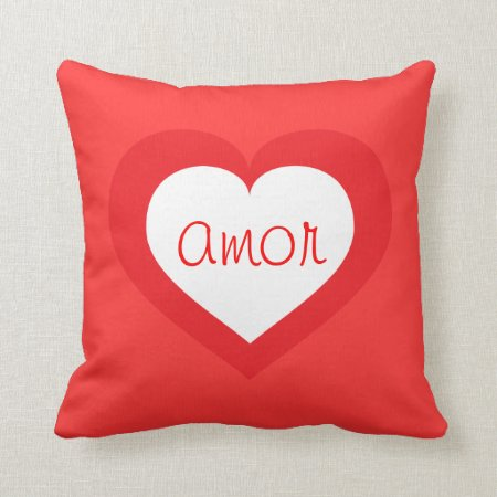 White Heart Throw Pillow : Amor White And Red Heart Throw Pillow 868534