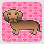 Amor Wirehaired rojo del Dachshund Pegatina