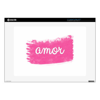 "Amor with a Swipe of Pink 15"" Laptop Skin"
