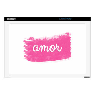 Amor with a Swipe of Pink Laptop Skins