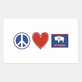 Amor Wyoming de la paz Rectangular Pegatina