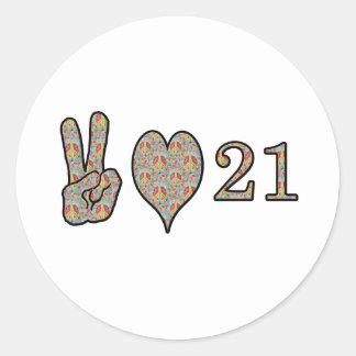 Amor y 21 de la paz pegatina redonda
