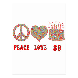 Amor y 30 de la paz tarjetas postales