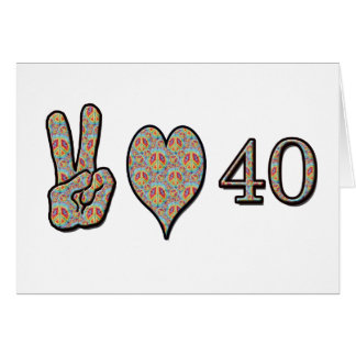 Amor y 40 de la paz tarjetas