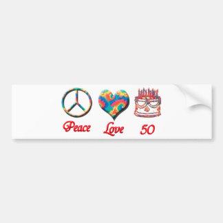 Amor y 50 de la paz pegatina para auto