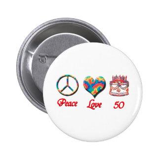 Amor y 50 de la paz pin redondo 5 cm