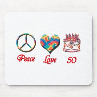 Amor y 50 de la paz mousepads
