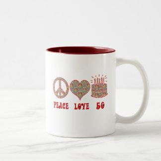 Amor y 50 de la paz tazas