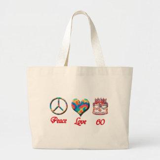 Amor y 60 de la paz bolsa tela grande