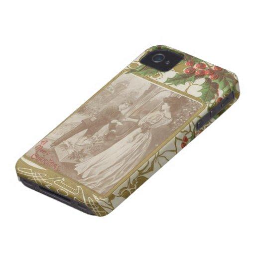 Amor y acebo del navidad del vintage iPhone 4 protector