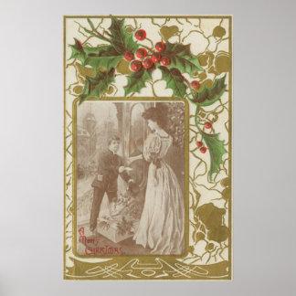 Amor y acebo del navidad del vintage póster