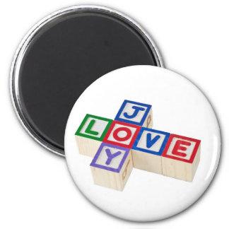 Amor y alegría imán redondo 5 cm