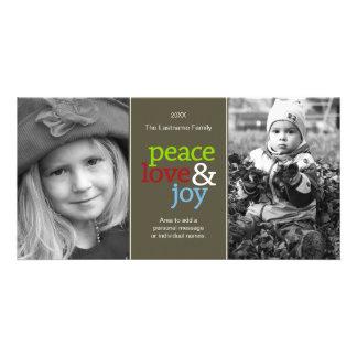 Amor y alegría - tarjeta colorida de la paz de la tarjetas fotográficas personalizadas