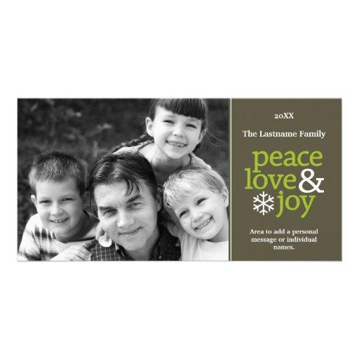 Amor y alegría - tarjeta de la paz de la foto plantilla para tarjeta de foto