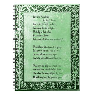 Amor y amistad del poema de Emily Bronte Libreta