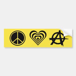 Amor y anarquía de la paz pegatina para auto