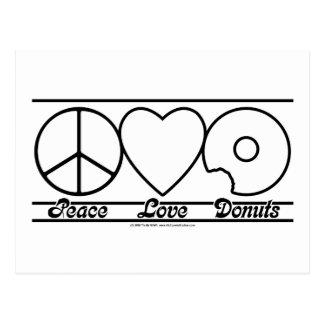 Amor y anillos de espuma de la paz postales