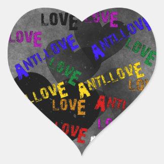 Amor y Anti-Amor Pegatina En Forma De Corazón