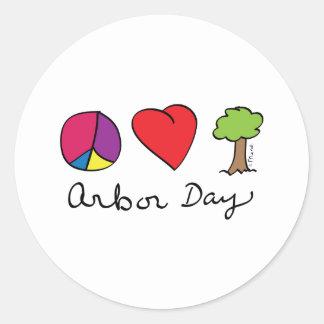 Amor y árboles - día del árbol de la paz pegatina redonda
