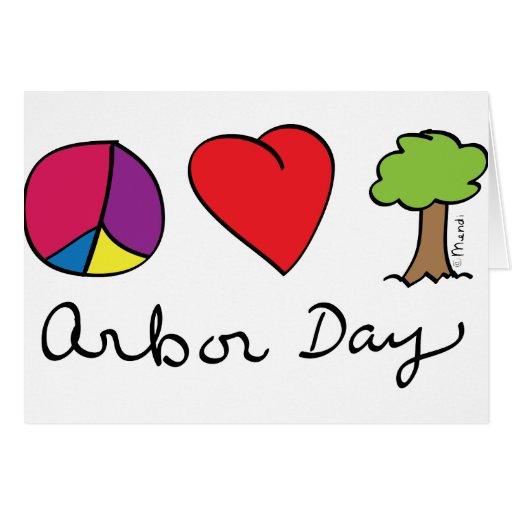 Amor y árboles - día del árbol de la paz tarjeta de felicitación