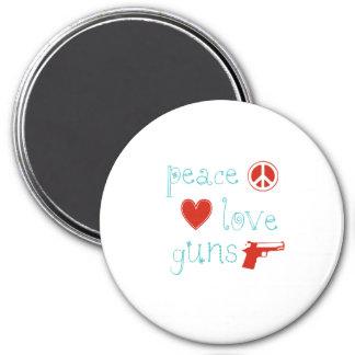 Amor y armas de la paz imán redondo 7 cm