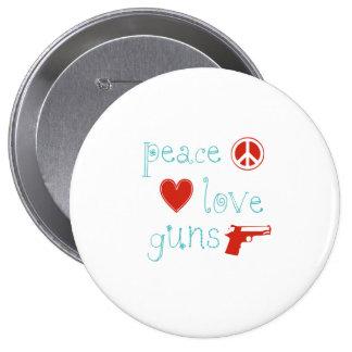 Amor y armas de la paz pin