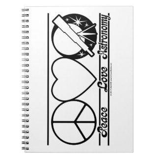 Amor y astronomía de la paz cuadernos