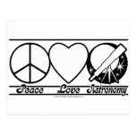 Amor y astronomía de la paz tarjetas postales