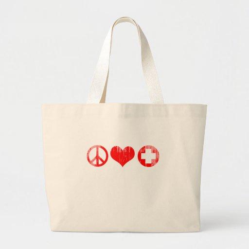 Amor y atención sanitaria Faded.png rojo de la paz Bolsas