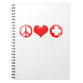 Amor y atención sanitaria Faded png rojo de la paz Libreta