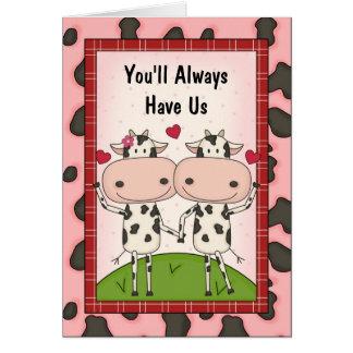 Amor y ayuda - vacas tarjeta de felicitación