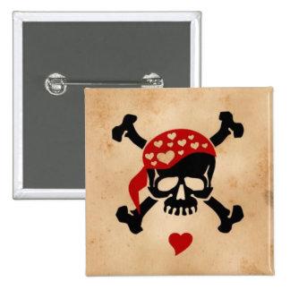 Amor y bandera pirata pin cuadrada 5 cm