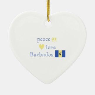 Amor y Barbados de la paz Adorno Navideño De Cerámica En Forma De Corazón