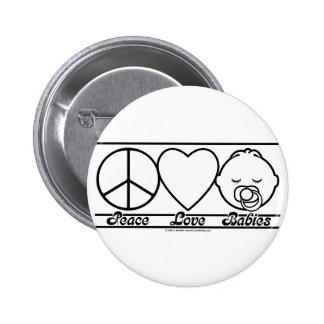Amor y bebés de la paz pin redondo 5 cm