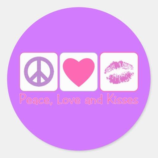 Amor y besos de la paz pegatina redonda