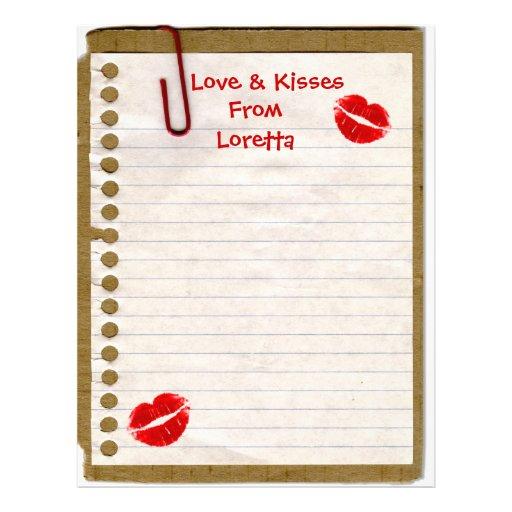 Amor y besos de… Papel con membrete de la diversió Plantillas De Membrete