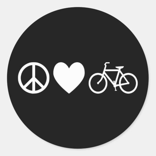 Amor y bicicletas de la paz pegatina redonda