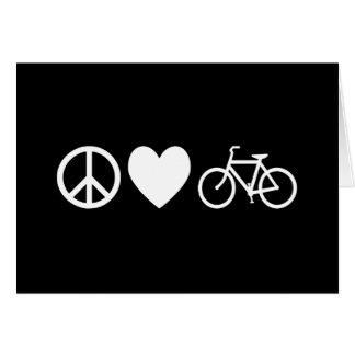 Amor y bicicletas de la paz tarjeton