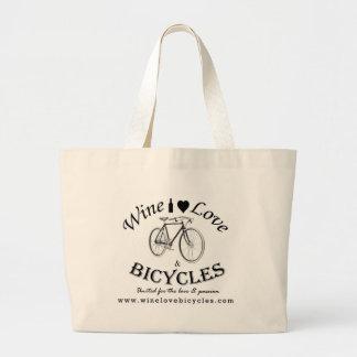 Amor y bicicletas del vino bolsas de mano