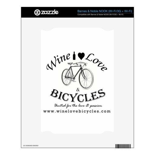 Amor y bicicletas del vino NOOK calcomanía