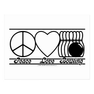Amor y bolos de la paz tarjetas postales