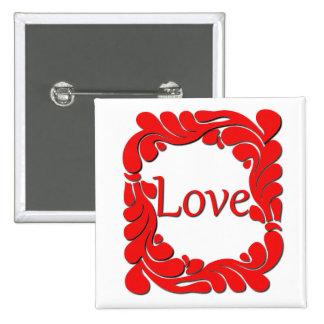Amor y botón remolinado de las fronteras pin cuadrado