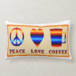 Amor y café de la paz almohada