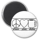 Amor y café de la paz imán redondo 5 cm